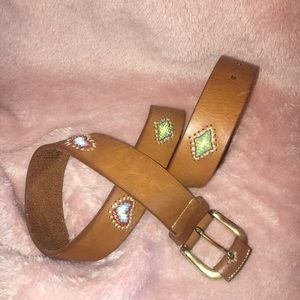 Vintage Leather Beaded Belt